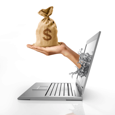 hand with bag of money coming through laptop