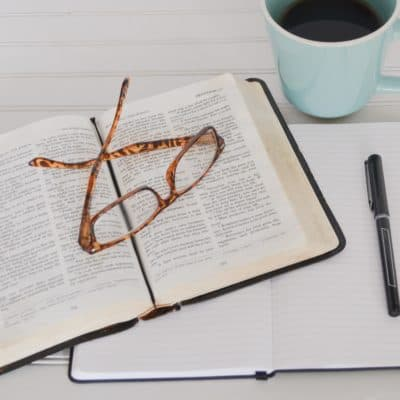bible journal glasses and coffee